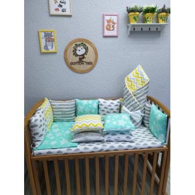 Комплект в детскую кроватку Мятно-жёлтый Lite