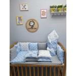 Комплект в детскую кроватку голубой Мишутка Lite
