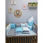 Комплект в детскую кроватку бирюзовый с серым