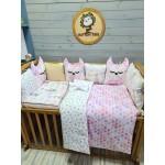 Комплект в детскую кроватку 6в1 Совушки (розовый+бежевый)