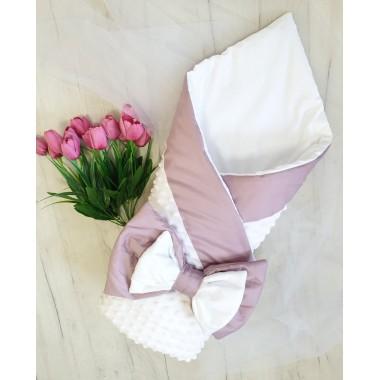 Плед плюшевый белый с розовой отделкой