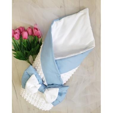 Плед плюшевый белый с голубой отделкой